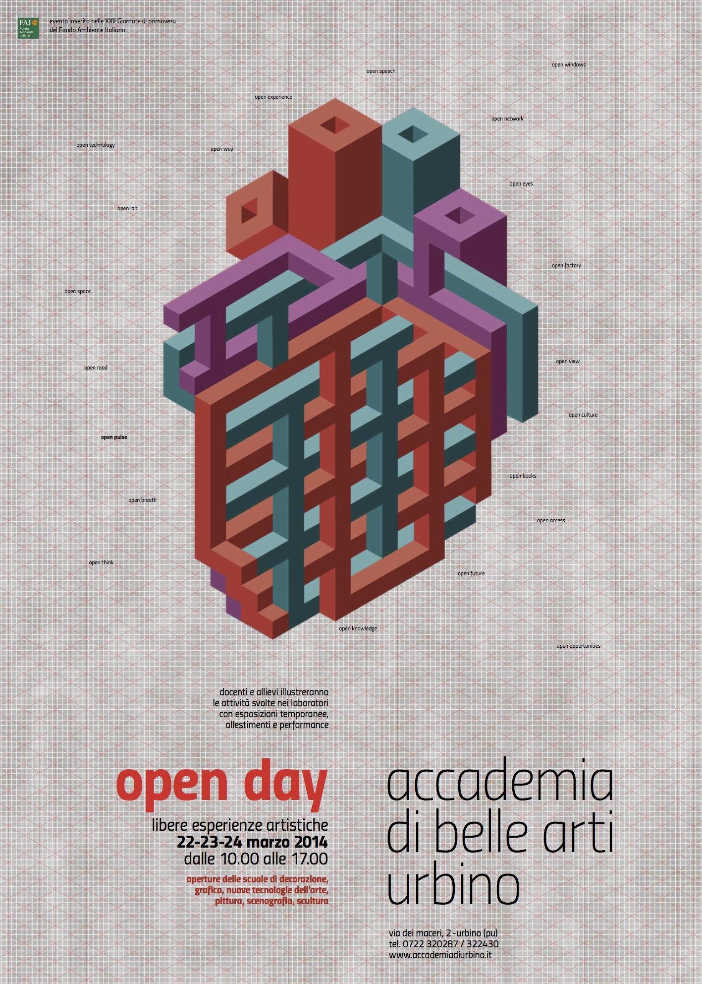 Open day 22 23 24 marzo 2014 accademia di belle arti di for Accademia belle arti design