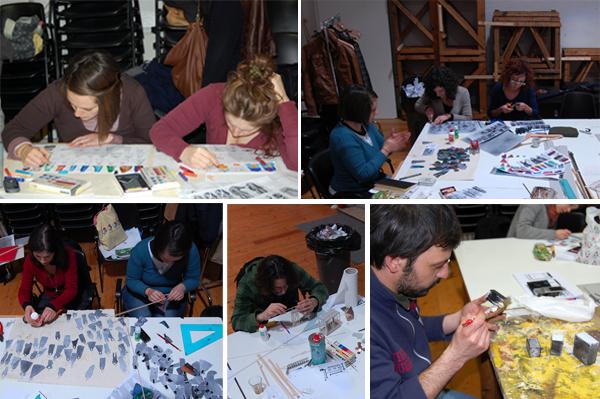Gruppo modellino con studenti all'opera