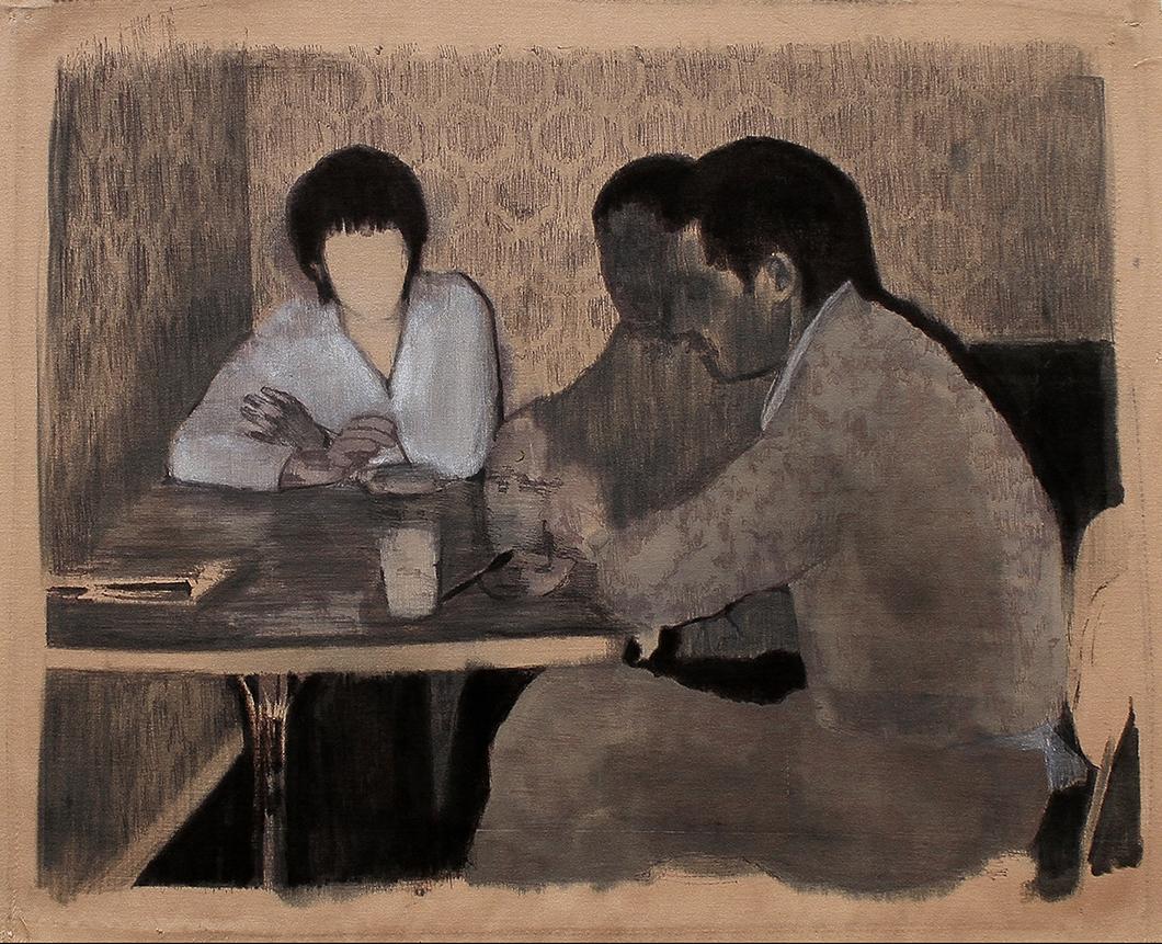 Rojna Bagheri_senza titolo_pennarelli su tessuto misto seta_35cm x 24 cm, 2013